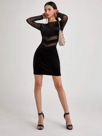 Women Mesh Panel Velvet Bodycon Dress