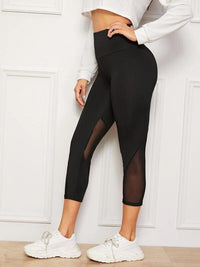 Women Mesh Insert Wide Band Waist Leggings