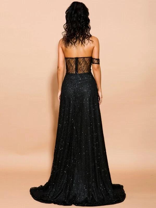 Women Missord Split Thigh One Shoulder Sequin Mesh Maxi Dress