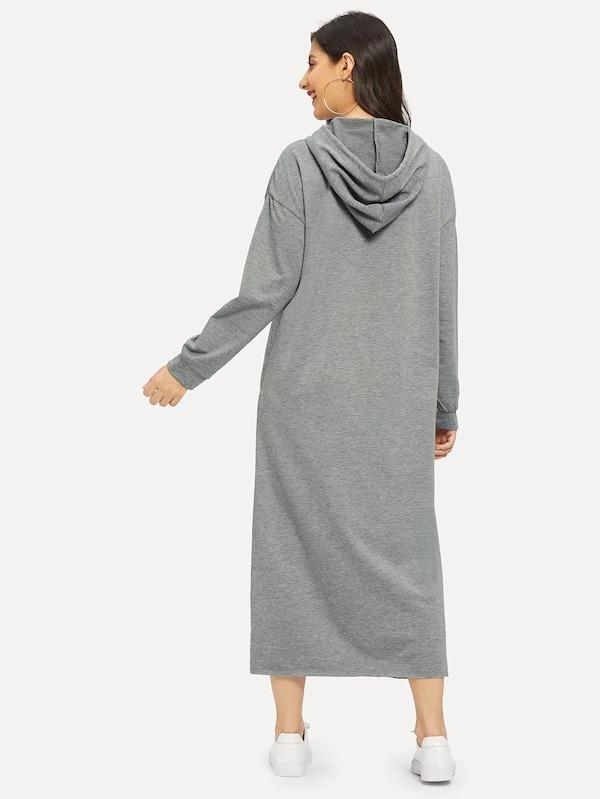 Women Mixed Print Drawstring Hooded Sweatshirt Dress