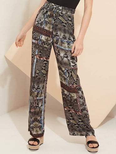Women Mixed Snake Print Wide Leg Trousers