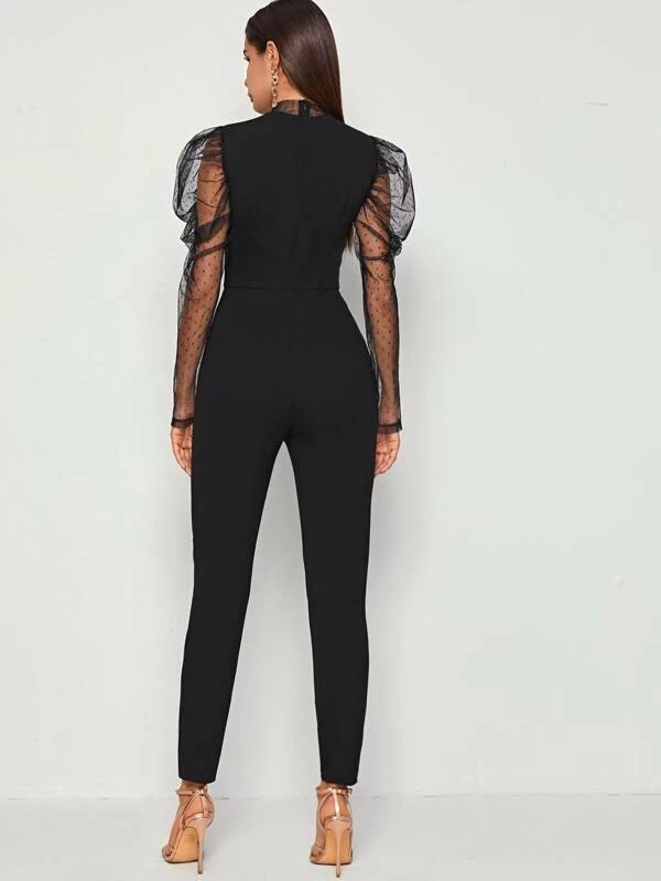 Women Mock-Neck Swiss Dot Mesh Leg-of-mutton Sleeve Jumpsuit