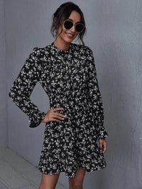 Women Mock-neck Flounce Sleeve Plants Print Dress