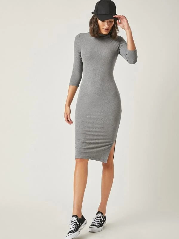 Women Mock Neck Solid Bodycon Dress