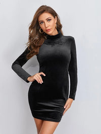 Women Mock Neck Velvet Bodycon Dress