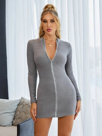 Women Mock Neck Zip Up Rib-knit Bodycon Dress