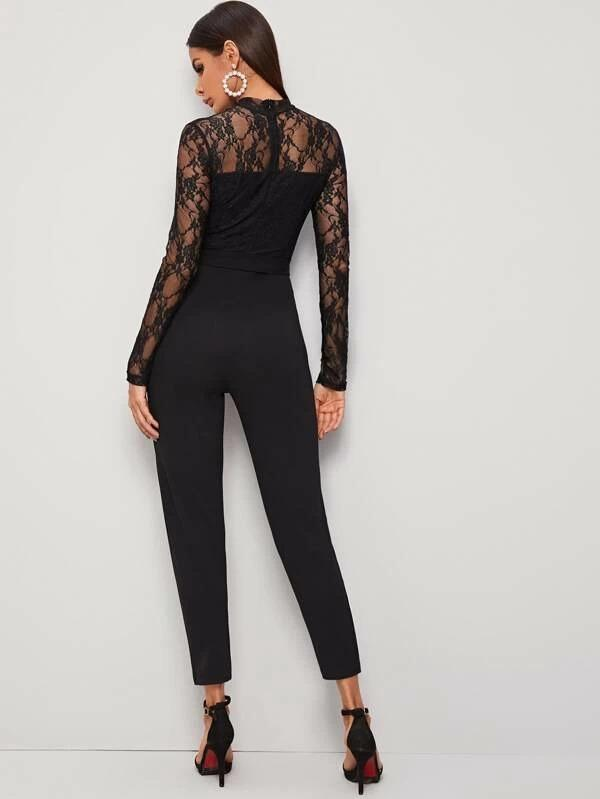 Women Mock Neck Belted Lace Bodice Jumpsuit