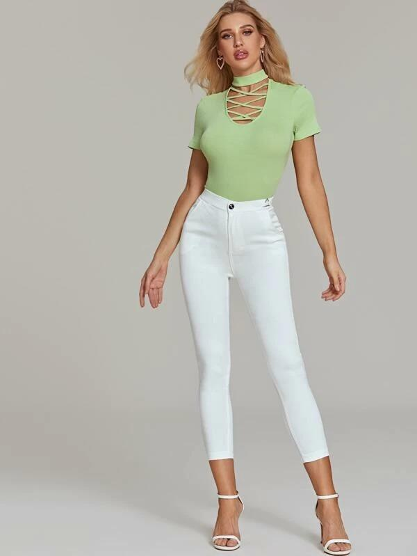 Women Mock Neck Criss Cross Skinny Bodysuit