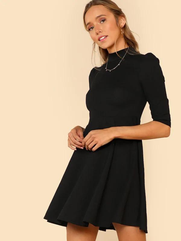 Women Mock Neck Fit & Flare Dress