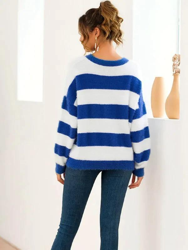 Women Mohair Contrast Striped Drop Shoulder Sweater