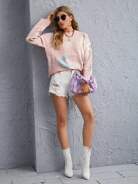 Women Moon & Star Pattern Drop Shoulder Sweater