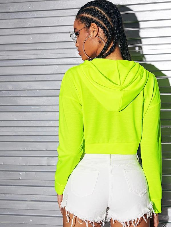 Women Neon Green Drop Shoulder Drawstring Hoodie