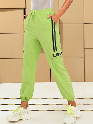 Women Neon Lime Striped Side Flap Pocket Tapered Pants