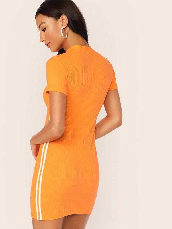 Women Neon Orange Half Zipper Front Striped Side Pencil Dress