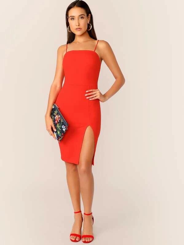 Women Neon Orange Split Hem Cami Dress