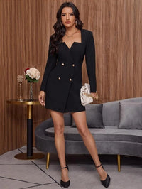 Women Notch Neck Double Button Dress