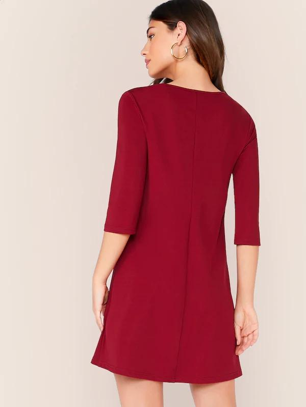 Women Notch Collar Solid Dress