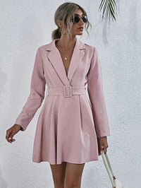 Women Notched Collar Buckle Belted Dress