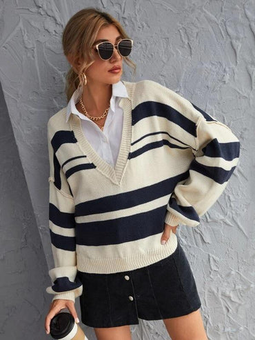 Women Notched Striped Drop Shoulder Oversized Sweater