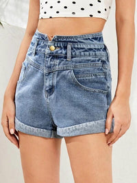 Women Notched Waist Roll Up Hem Denim Shorts