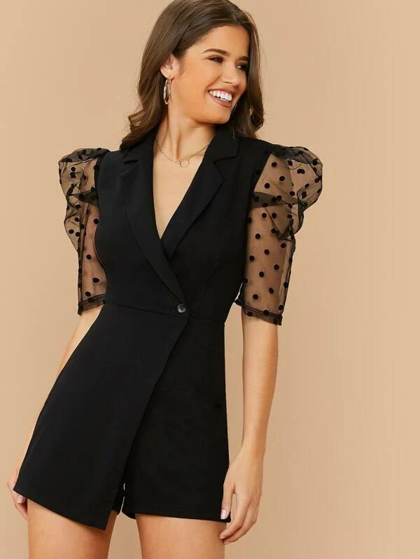 Women Notched Collar Flocked Dobby Mesh Sleeve Wrap Romper