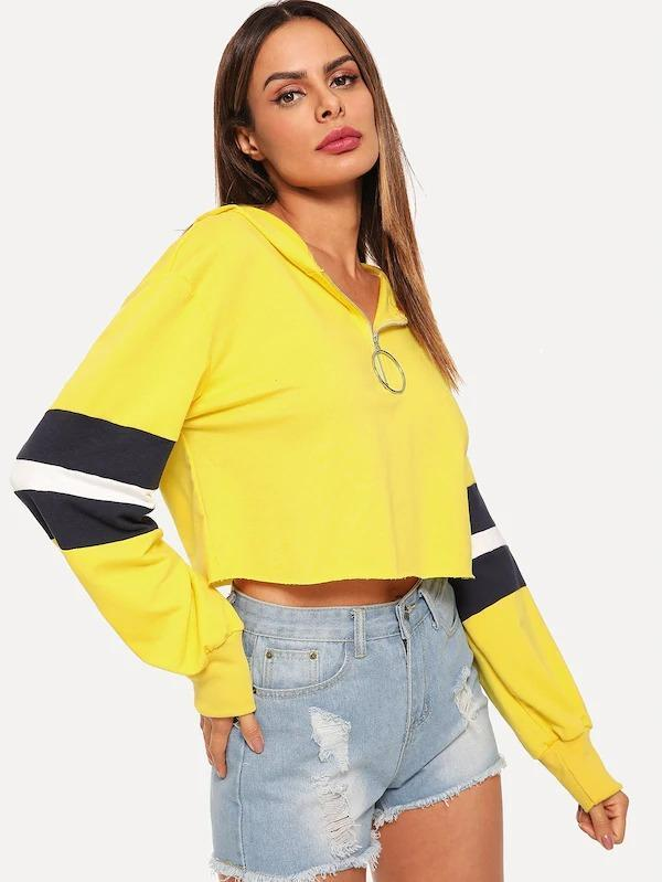 Women O-Ring Zip Hoodie Crop Sweatshirts