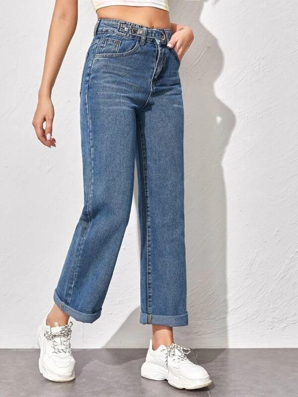 Women O-ring Button Fly Straight Jeans