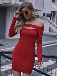Women Off Shoulder Cut Out Rib-knit Bodycon Dress