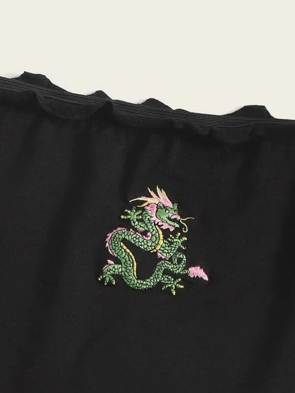 Women Off Shoulder Lettuce Trim Dragon Embroidery Top
