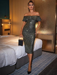 Women Off Shoulder Sequin Prom Dress