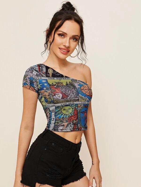 Women One Shoulder Graphic Print Striped Crop Top