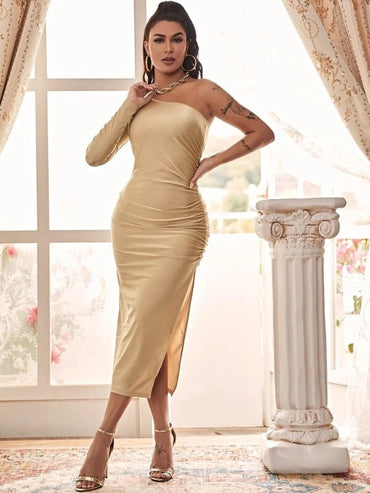 Women One Shoulder High Split Side Ruched Satin Dress