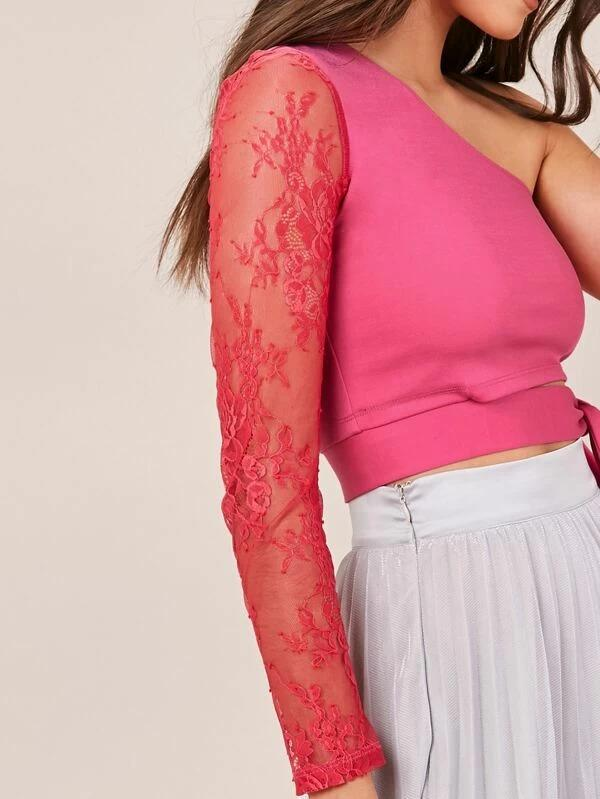 Women One Shoulder Lace Sleeve Tie Front Top