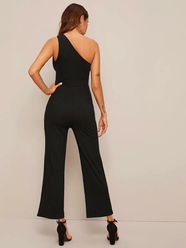 Women One Shoulder Cutout Detail Knit Jumpsuit