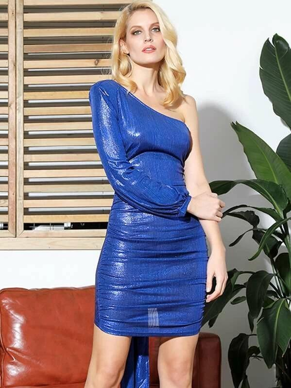 Women One Shoulder Ruched Draped Metallic Dress