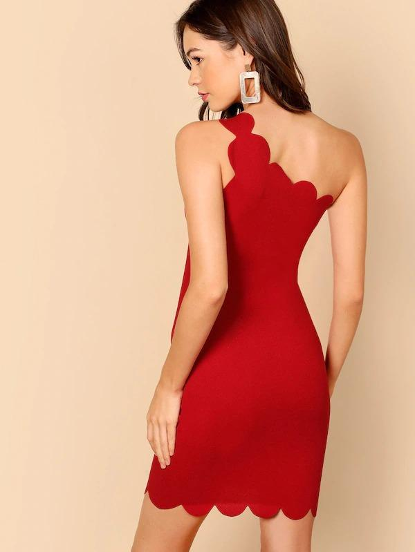 Women One Shoulder Scallop Trim Bodycon Dress