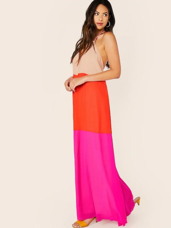 Women Open Back Cut-And-Sew Halter Dress