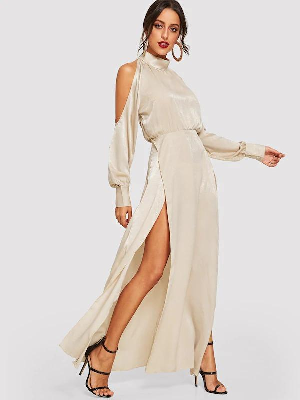 Women Open Shoulder M-Slit Maxi Dress