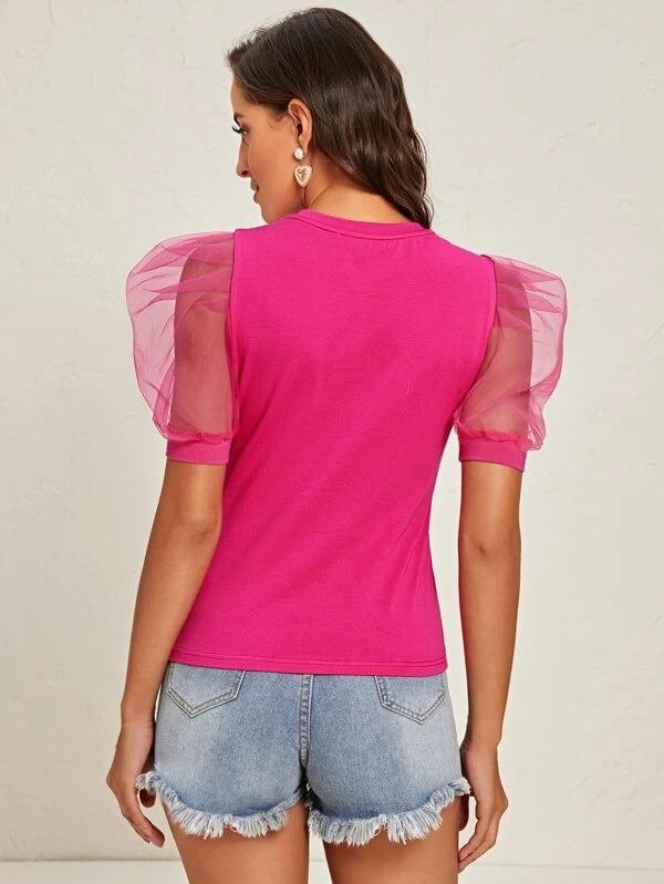 Women Organza Puff Sleeve Solid Top
