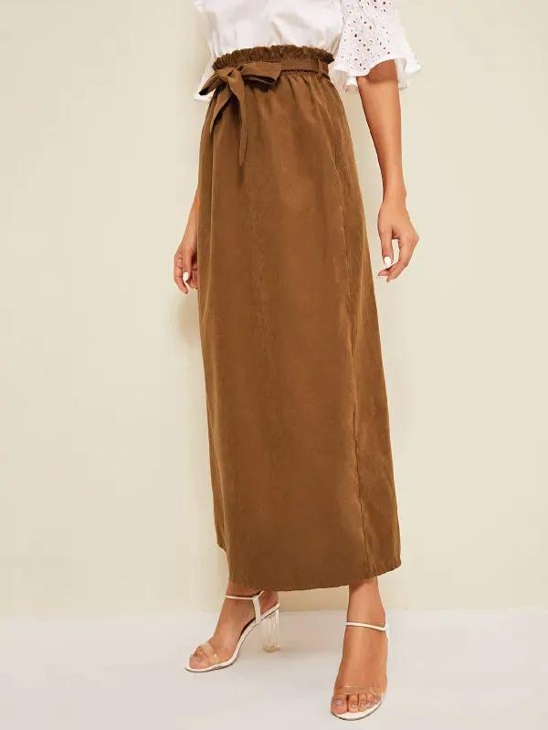 Women Paper Bag Waist Belted Maxi Skirt