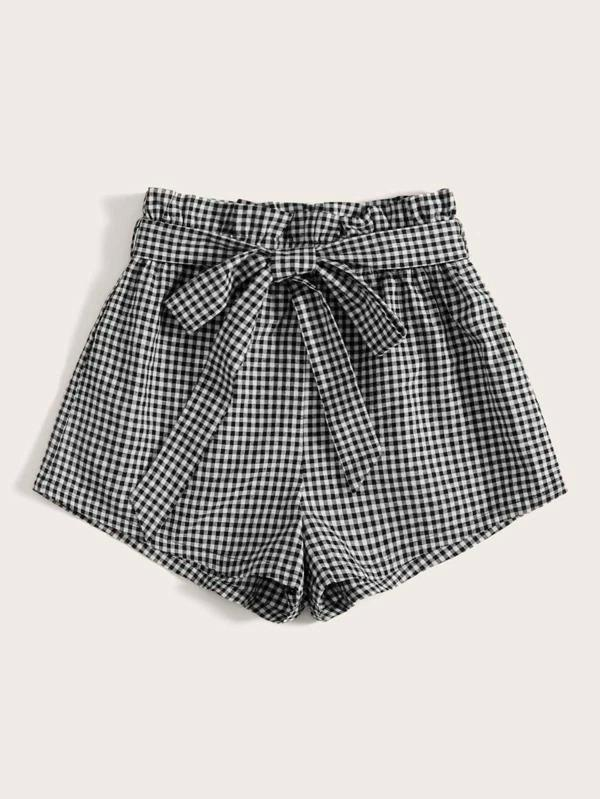 Women Paperbag Waist Belted Gingham Shorts
