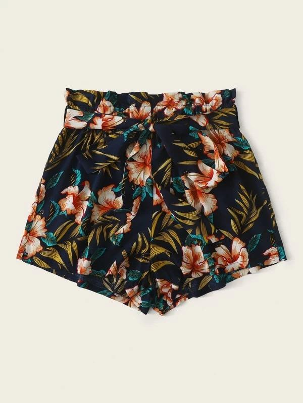 Women Paperbag Waist Belted Tropical Shorts