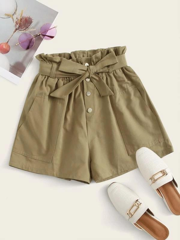 Women Paperbag Waist Button Front Belted Shorts