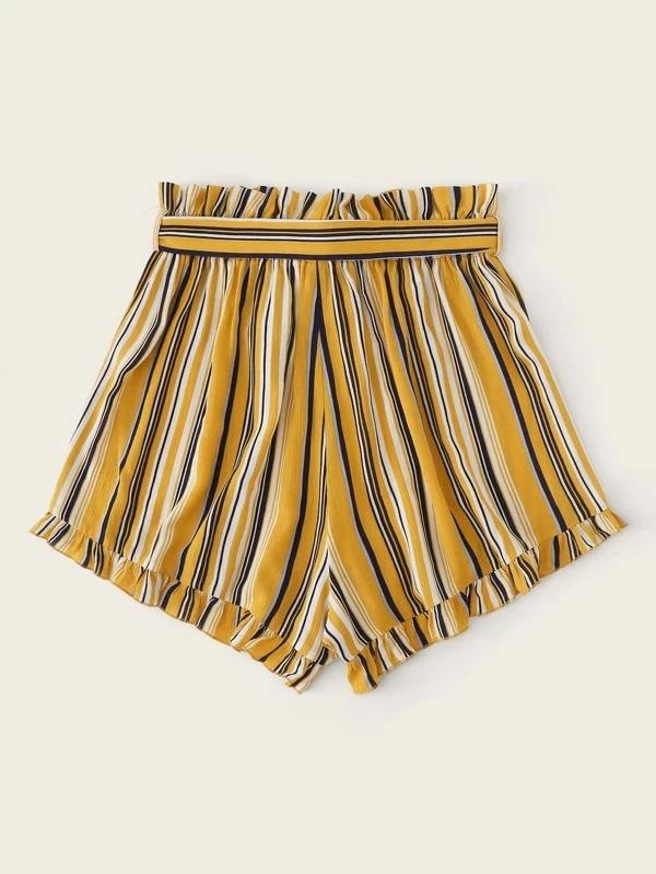 Women Paperbag Waist Ruffle Hem Belted Striped Shorts