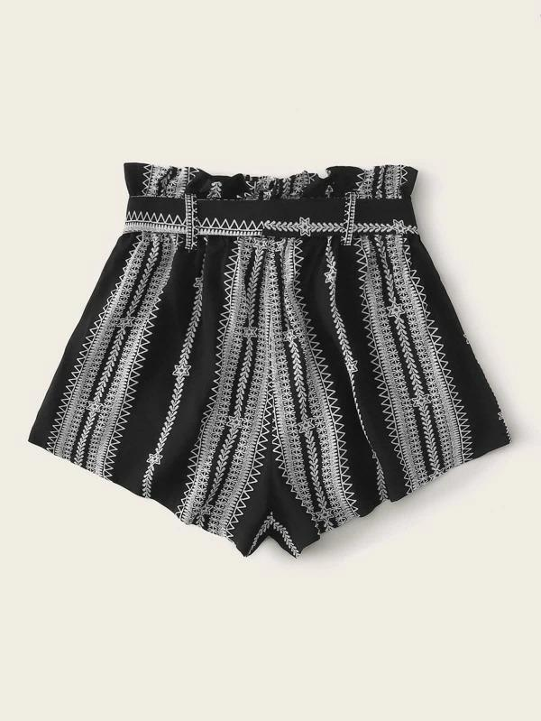 Women Paperbag Waist Self Belted Tribal Shorts