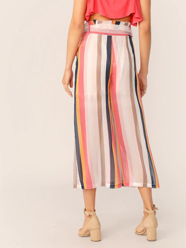 Women Paperbag Waist Slant Pocket Striped Culottes Pants