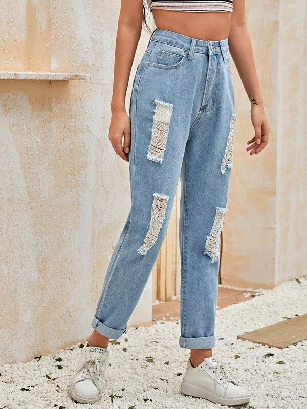 Women Patch Pocket Ripped Detail Jeans
