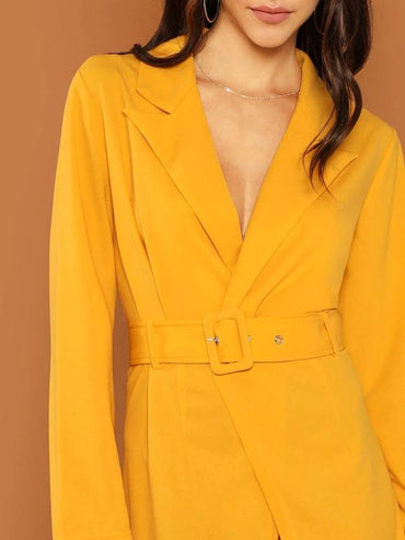 Women Peak Collar Trench Dress With Buckle Belt