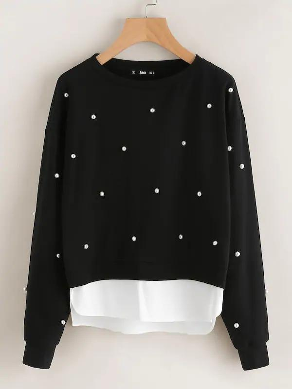 Women Pearl Beading 2 In 1 Sweatshirt