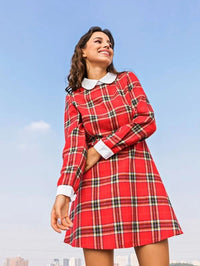 Women Peter Pan Collar Tartan Dress